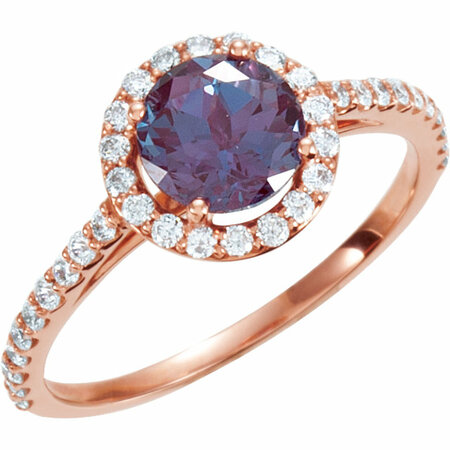Great Deal in 14 Karat Rose Gold Alexandrite & 0.40 Carat Total Weight Diamond Ring