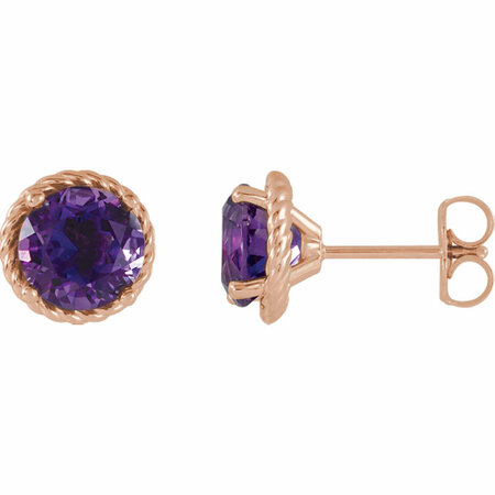 Great Gift in 14 Karat Rose Gold Amethyst Rope Earrings