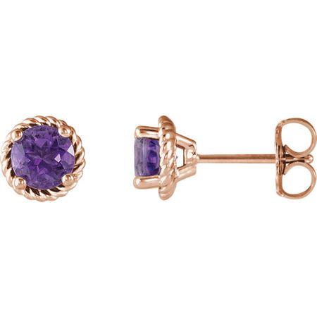 Must See 14 Karat Rose Gold Amethyst Rope Earrings