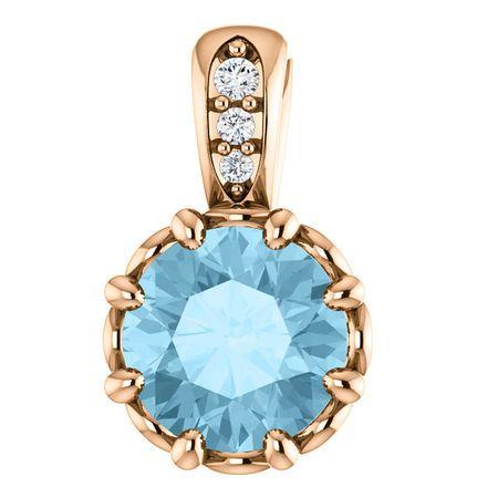 Perfect Gift Idea in 14 Karat Rose Gold Aquamarine & .02 Carat Total Weight Diamond Pendant