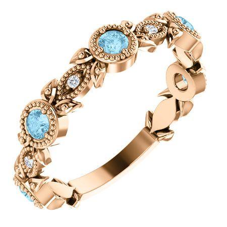 Contemporary 14 Karat Rose Gold Aquamarine & .03 Carat Total Weight Diamond Leaf Ring