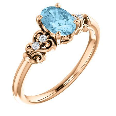 Great Buy in 14 Karat Rose Gold Aquamarine & .04 Carat Total Weight Diamond Ring