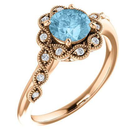 Surprise Her with  14 Karat Rose Gold Aquamarine & .07 Carat Total Weight Diamond Ring