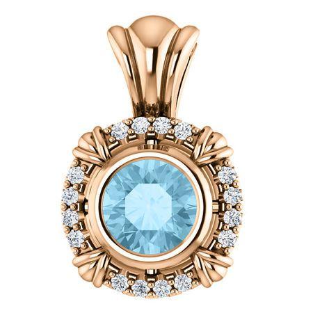 Eye Catchy 14 Karat Rose Gold Aquamarine & .08 Carat Total Weight Diamond Pendant
