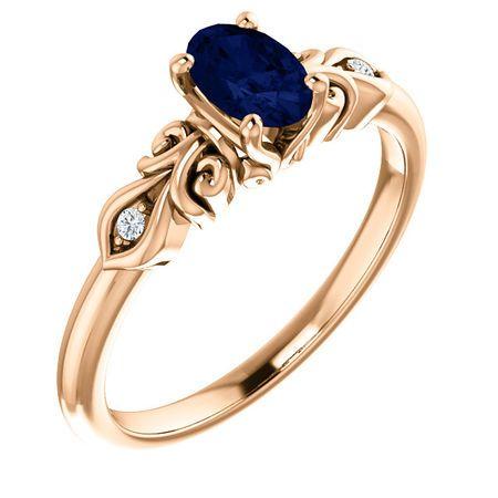 Very Nice 14 Karat Rose Gold Genuine Chatham Created Created Sapphire & .02 Carat Total Weight Diamond Ring