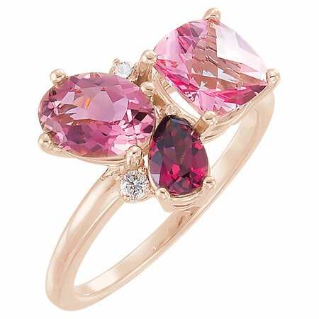 Surprise Her with  14 Karat Rose Gold Multi-Gemstone & .05 Carat Total Weight Diamond Cluster Ring