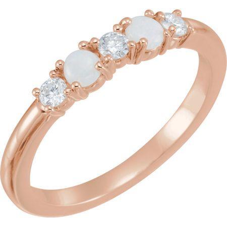 Gorgeous 14 Karat Rose Gold Opal & 0.20 Carat Total Weight Diamond Stackable Ring