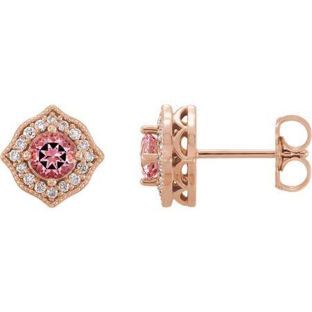 Gorgeous 14 Karat Rose Gold Pink Topaz and 0.125 Carat Total Weight Diamond Earrings