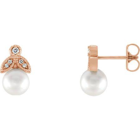 Very Nice 14 Karat Rose Gold Freshwater Pearl & .07 Carat Total Weight Diamond Earrings