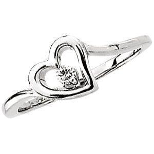 Eye Catchy 14 Karat White Gold .06 Carat Total Weight Diamond Heart Ring