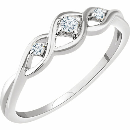 Wonderful 14 Karat White Gold .08 Carat Total Weight Diamond Freeform Ring