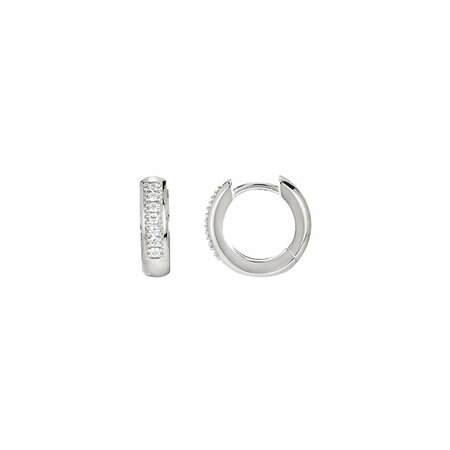 Great Deal in 14 Karat White Gold 0.10 Carat Total Weight Diamond Hoop Earrings