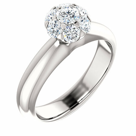 Surprise Her with  14 Karat White Gold 0.50 Carat Total Weight Diamond Cluster Engagement Ring
