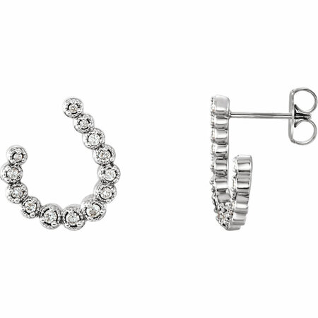 Gorgeous 14 Karat White Gold 0.25 Carat Total Weight Diamond Earrings