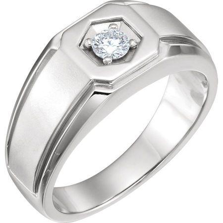 Fine Quality 14 Karat White Gold 0.25 Carat Total Weight Men's Diamond Ring