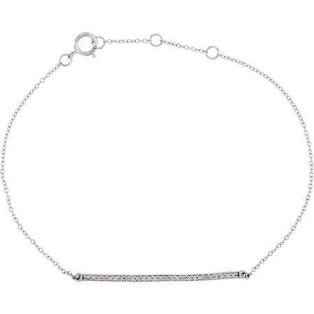 Perfect Jewelry Gift 14 Karat White Gold 0.17 Carat Total Weight Diamond 6-8