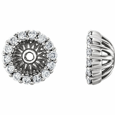 Easy Gift in 14 Karat White Gold 0.17 Carat Total Weight Diamond Cluster Earring Jackets
