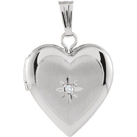 Contemporary 14 Karat White Gold 13.5x12.75mm .010 Carat Total Weight Diamond Heart Locket