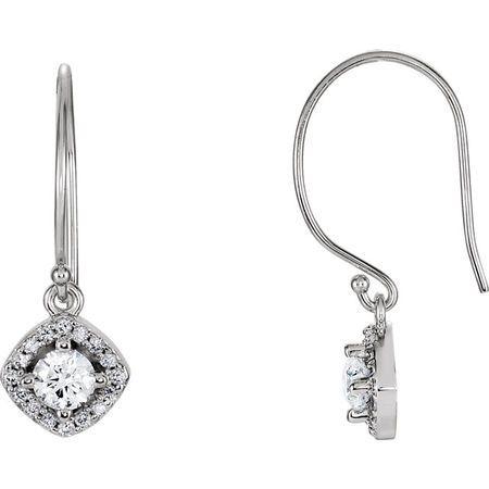 Great Deal in 14 Karat White Gold 0.75 Carat Total Weight Diamond Earrings