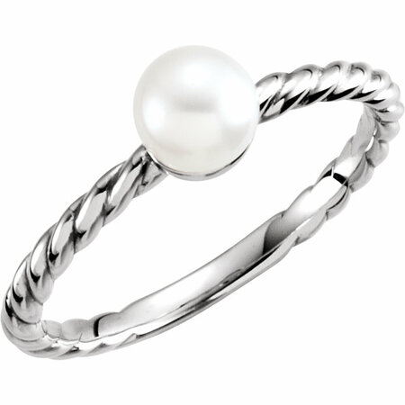 Contemporary 14 Karat White Gold 5.5-6mm Freshwater Cultured Pearl Ring