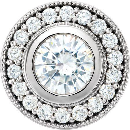 Great Deal in 14 Karat White Gold 6.5mm Round Genuine Charles Colvard Forever One Moissanite & 0.33 Carat Total Weight Diamond Pendant