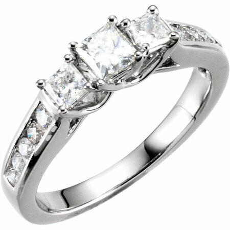 Contemporary 14 Karat White Gold 0.85 Carat Total Weight Diamond Engagement Ring