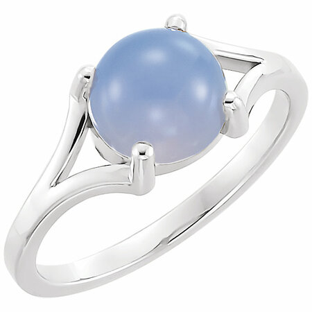 Great Buy in 14 Karat White Gold 8mm Round Blue Chalecedony Cabochon Ring