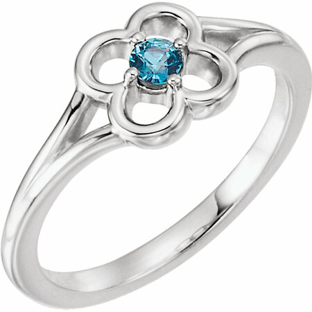 Contemporary 14 Karat White Gold Alexandrite Flower Youth Ring