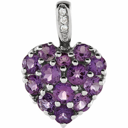 Great Gift in 14 Karat White Gold Amethyst & .01 Carat Total Weight Diamond Heart Pendant