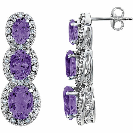 Very Nice 14 Karat White Gold Amethyst & .07 Carat Total Weight Diamond 3-Stone Earrings