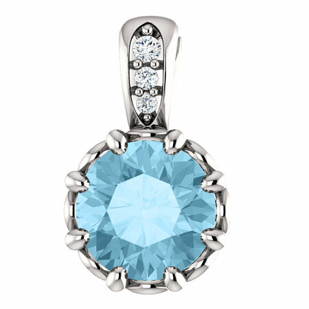 Perfect Gift Idea in 14 Karat White Gold Aquamarine & .02 Carat Total Weight Diamond Pendant