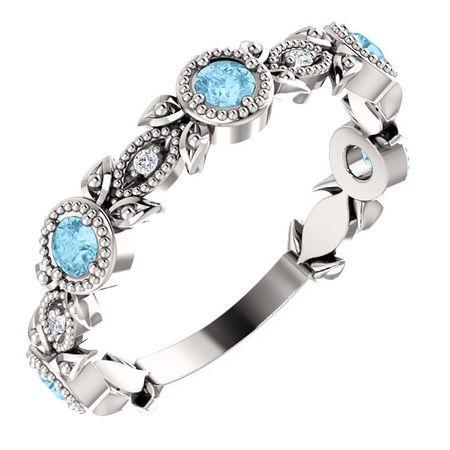 Wonderful 14 Karat White Gold Aquamarine & .03 Carat Total Weight Diamond Leaf Ring
