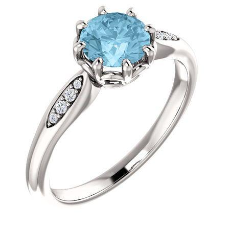 Gorgeous 14 Karat White Gold Aquamarine & .04 Carat Total Weight Diamond Ring