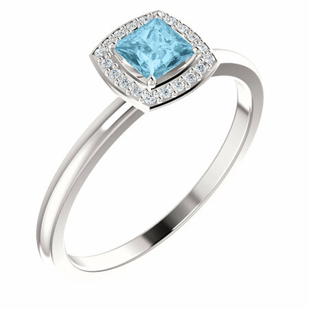 Contemporary 14 Karat White Gold Aquamarine & .05 Carat Total Weight Diamond Ring