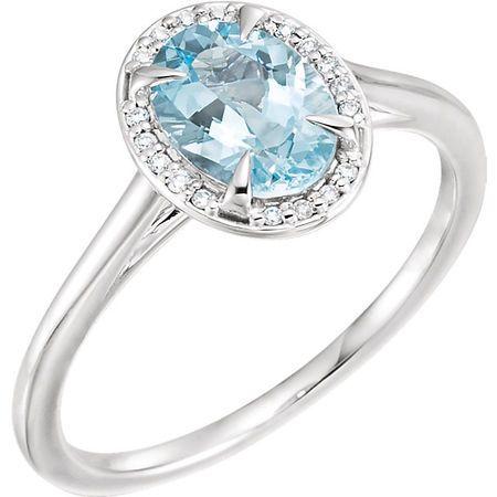 Perfect Jewelry Gift 14 Karat White Gold Aquamarine & .06 Carat Total Weight Diamond Ring