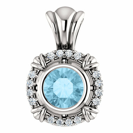 Eye Catchy 14 Karat White Gold Aquamarine & .08 Carat Total Weight Diamond Pendant