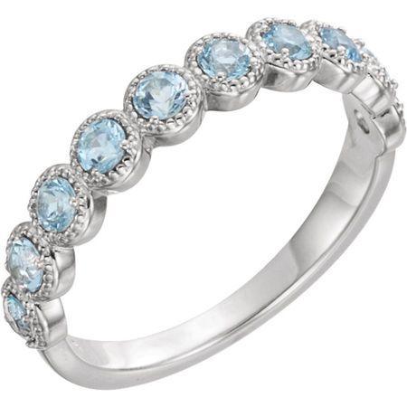 Surprise Her with  14 Karat White Gold Aquamarine Beaded Ring