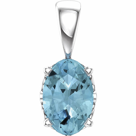 Eye Catchy 14 Karat White Gold Aquamarine Pendant