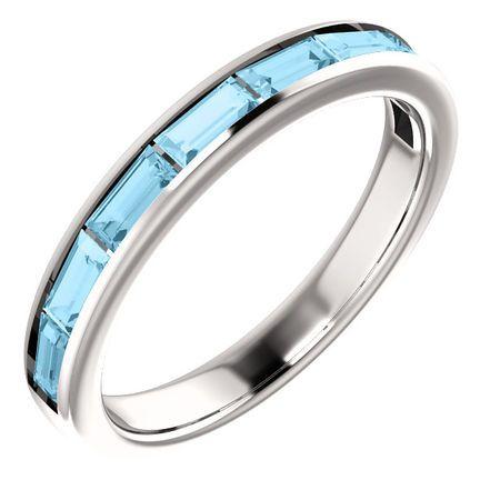 Contemporary 14 Karat White Gold Aquamarine Ring