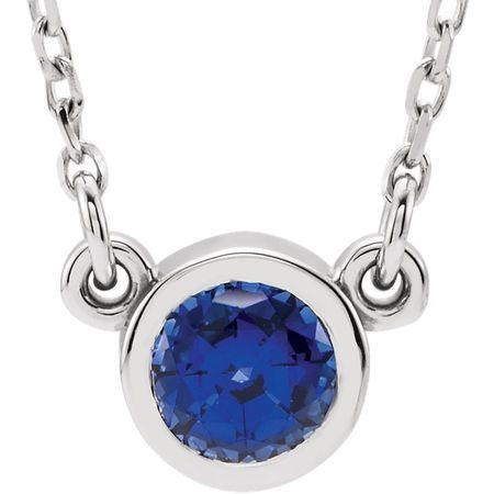Easy Gift in 14 Karat White Gold Blue Sapphire 16