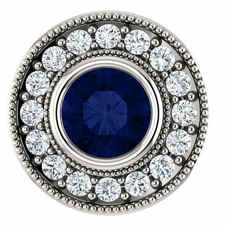 Appealing Jewelry in 14 Karat White Gold Genuine Chatham Created Created Blue Sapphire & 0.33 Carat Total Weight Diamond Pendant