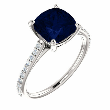 Great Buy in 14 Karat White Gold Genuine Chatham Created Created Blue Sapphire & 0.20 Carat Total Weight Diamond Ring