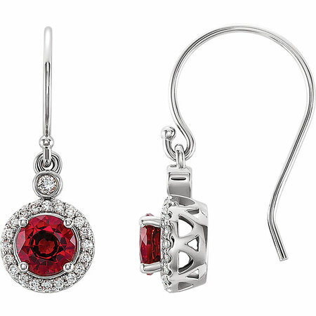 Wonderful 14 Karat White Gold Chatham Lab Grown Ruby & 0.17 Carat Total Weight Diamond  Halo-Style Earrings