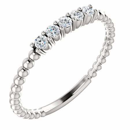 Easy Gift in 14 Karat White Gold Diamond Stackable Ring