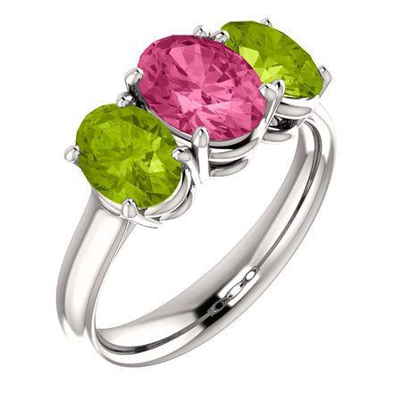 Chic 14 Karat White Gold Imitation Pink Tourmaline & Imitation Peridot Ring