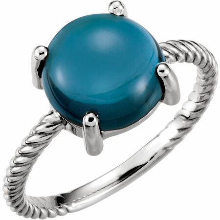 Wonderful 14 Karat White Gold London Blue Topaz Cabochon Ring