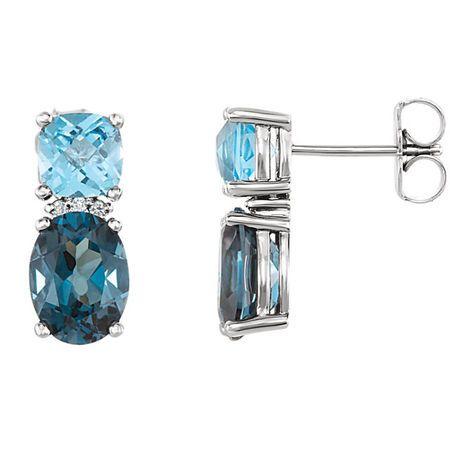 Trendy 14 Karat White Gold Oval Genuine London Blue Topaz, Oval Genuine Swiss Blue Topaz & .01 Carat Total Weight Diamond Earrings