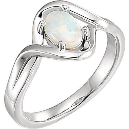 Must See 14 Karat White Gold Opal Freeform Ring