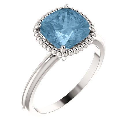 Stunning 14 Karat White Gold Sky Blue Topaz Ring