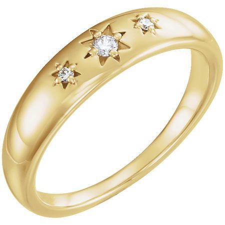 Gorgeous 14 Karat Yellow Gold .05 Carat Total Weight Diamond Starburst Ring